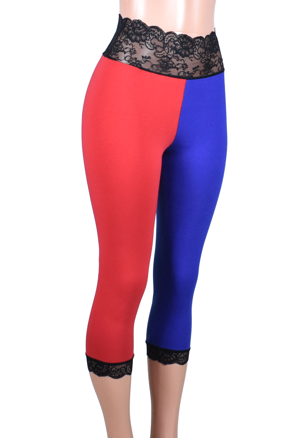 Cotton Blue and Red Harley Quinn Capris