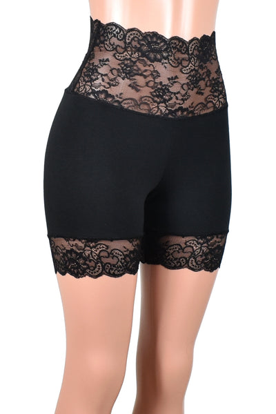 "Wide Waistband 2.5"" Black Stretch Lace Shorts (5"" inseam)"