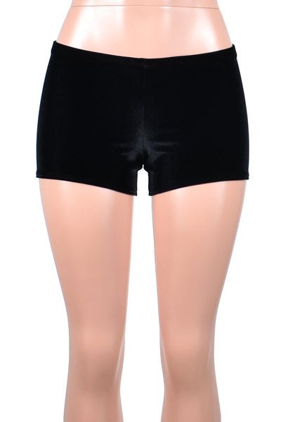 Black Stretch Velvet Shorts