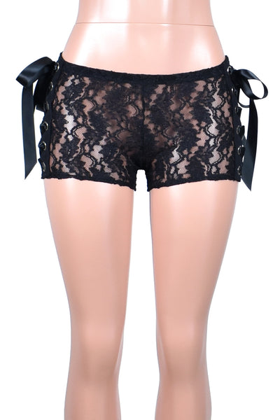 Side Lace-Up Sheer Black Stretch Lace Shorts