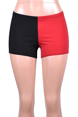Black and Red Cotton Harley Quinn Shorts