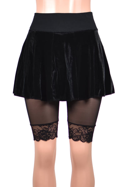 "Sheer Black Mesh Knee Length High-Waisted Stretch Lace Shorts (10.5"" inseam)"