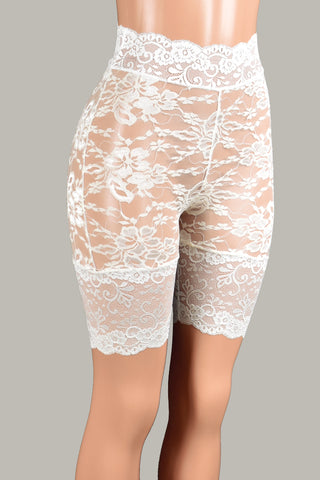 "Sheer Ivory High-Waisted Stretch Lace Shorts (8.5"" inseam)"