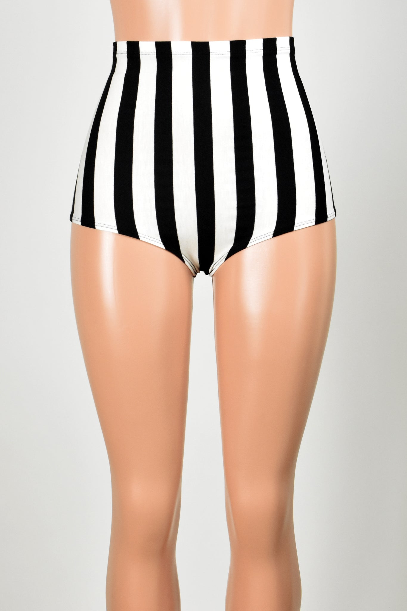 High-Waisted Black and White Vertical Striped Booty Shorts