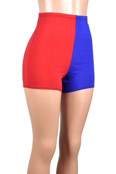 High-Waisted Red and Blue Cotton Harley Quinn Shorts