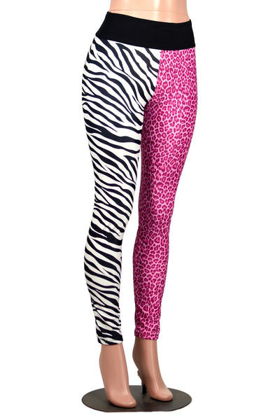 Pink Leopard and Zebra Split Leggings