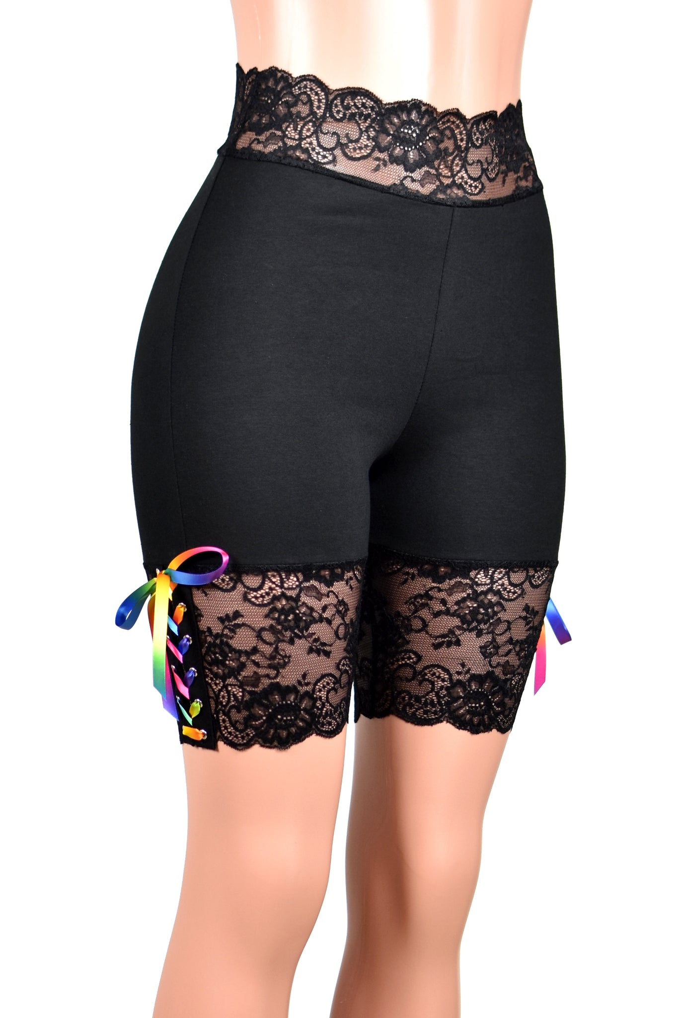 "Black Rainbow Lace-Up Stretch Lace Shorts (8.5"" inseam)"