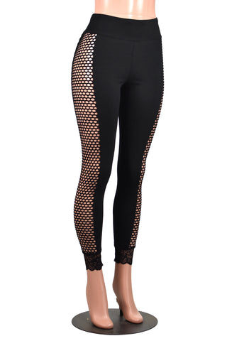 Black Fishnet Side Leggings