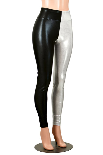 Shiny Black and Silver White Metallic Leggings