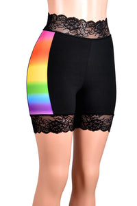 "High-Waisted Rainbow Side Black Stretch Lace Shorts (5"" inseam)"