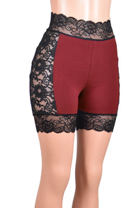 "High-Waisted Lace Side Burgundy and Black Stretch Lace Shorts (5"" inseam)"