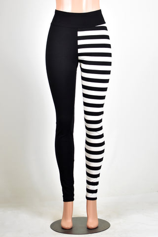 Full Length Black and Horizontal Striped Split Leggings