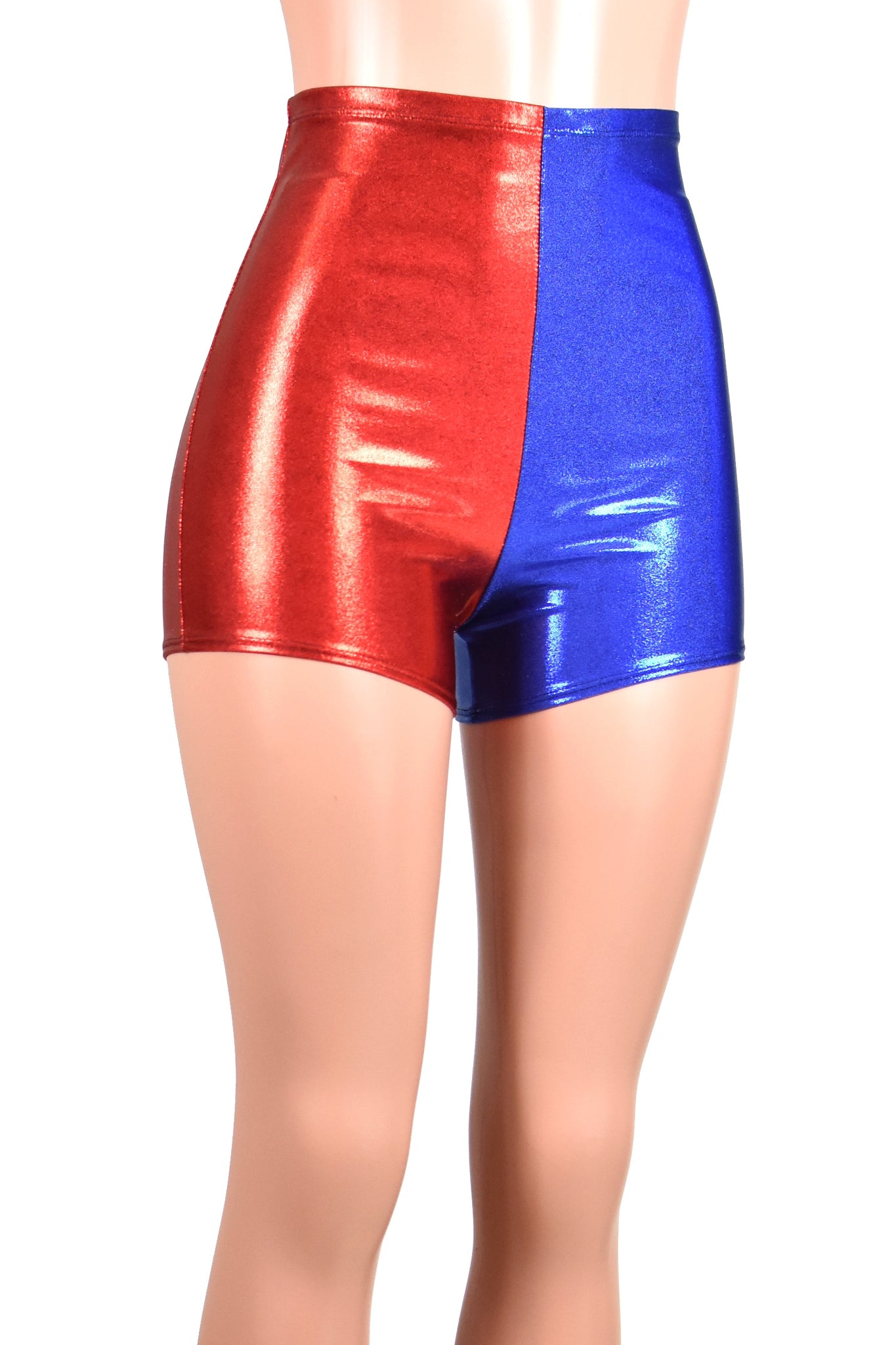 High-Waisted Red and Blue Metallic Harley Quinn Shorts