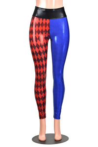 High-Waisted Metallic Diamond Print Red and Blue Harley Quinn Leggings