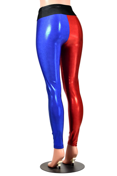 Shiny Red and Blue Metallic Harley Quinn Leggings (Black Waistband)
