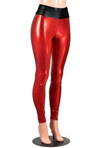 Shiny Red Metallic Leggings (Black Waistband)