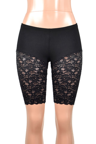 "Knee Length Black Lace Leg Shorts (10"" inseam)"