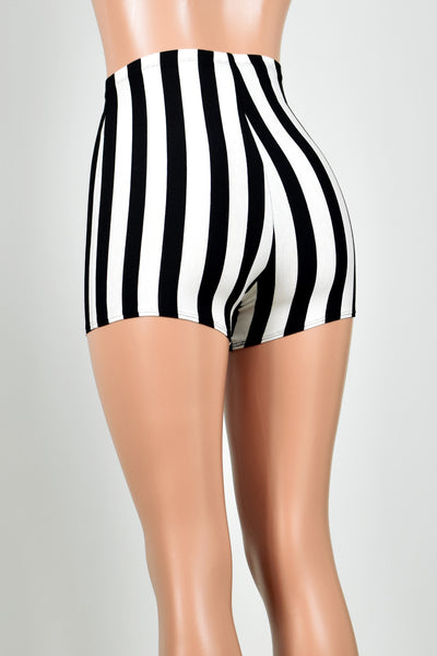 High-Waisted Black and White Vertical Striped Shorts