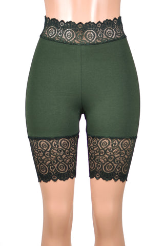 "Dark Olive Green High-Waisted Stretch Lace Shorts (8.5"" inseam)"