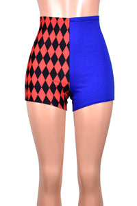 High-Waisted Diamond Print Red and Blue Harley Quinn Shorts