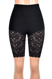 "High-Waisted Knee Length Black Lace Leg Shorts (10"" inseam)"