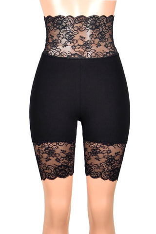 "Super High-Waisted Black Stretch Lace Shorts (8.5"" inseam)"