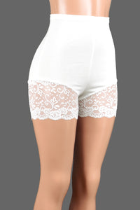 "High-Waisted Ivory or White Lace Leg Shorts (3.5"" inseam)"