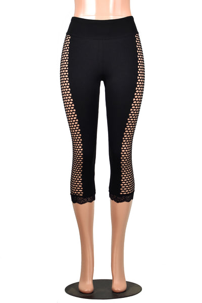 Black Fishnet Side Capris