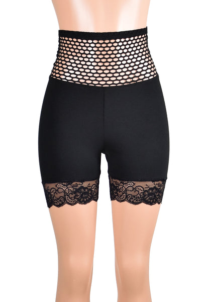 "Wide Fishnet Waistband Black Stretch Lace Shorts (5"" inseam)"