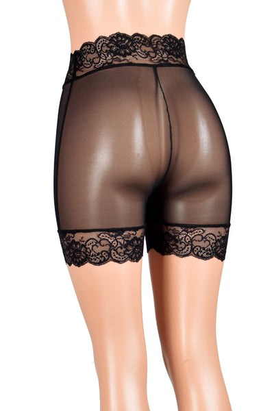 "High-Waisted Sheer Black Mesh Stretch Lace Shorts (5"" inseam)"