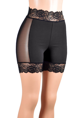 "Black Cotton and Mesh Stretch Lace Shorts (5"" inseam/Four colors available)"