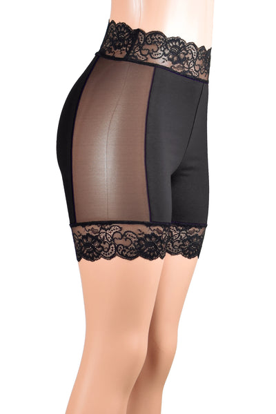 "Black Cotton and Mesh Stretch Lace Shorts (5"" inseam)"