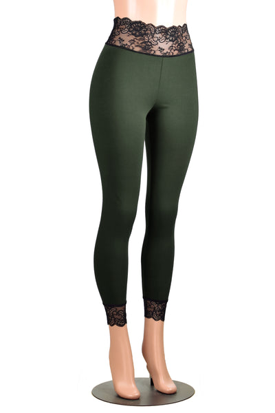 Olive Green and Black Cotton Spandex Lace-Waist Leggings