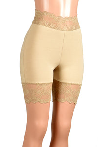 "High-Waisted Nude / Beige / Khaki Stretch Lace Shorts (7.5"" inseam)"