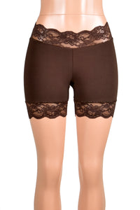 "Brown Stretch Lace Shorts (5.5"" inseam)"