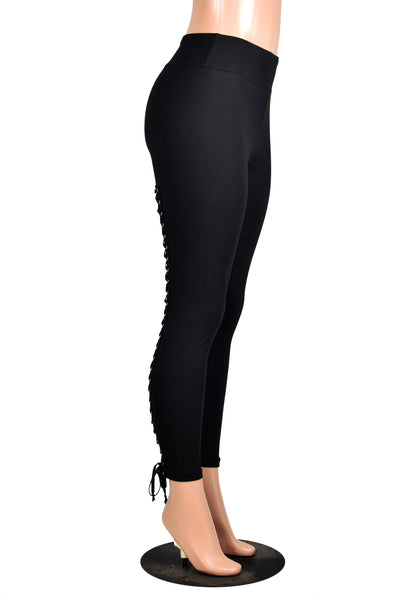 Full Length Back Lace-Up Leggings (black, red, or rainbow lacing)