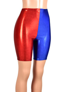 High-Waisted Red and Blue Metallic Harley Quinn Bike Shorts