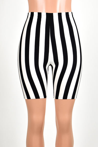 High-Waisted Black and White Vertical Striped Bike Shorts