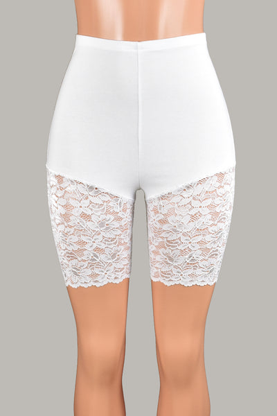 "High-Waisted White Lace Leg Shorts (7"" inseam)"