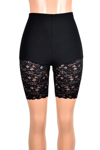 "High-Waisted Black Lace Leg Shorts (7"" inseam)"