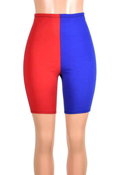 High-Waisted Red and Blue Cotton Harley Quinn Bike Shorts