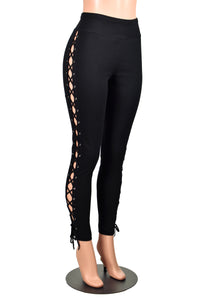 Black Cotton Spandex Lace-Up Leggings (open sides)