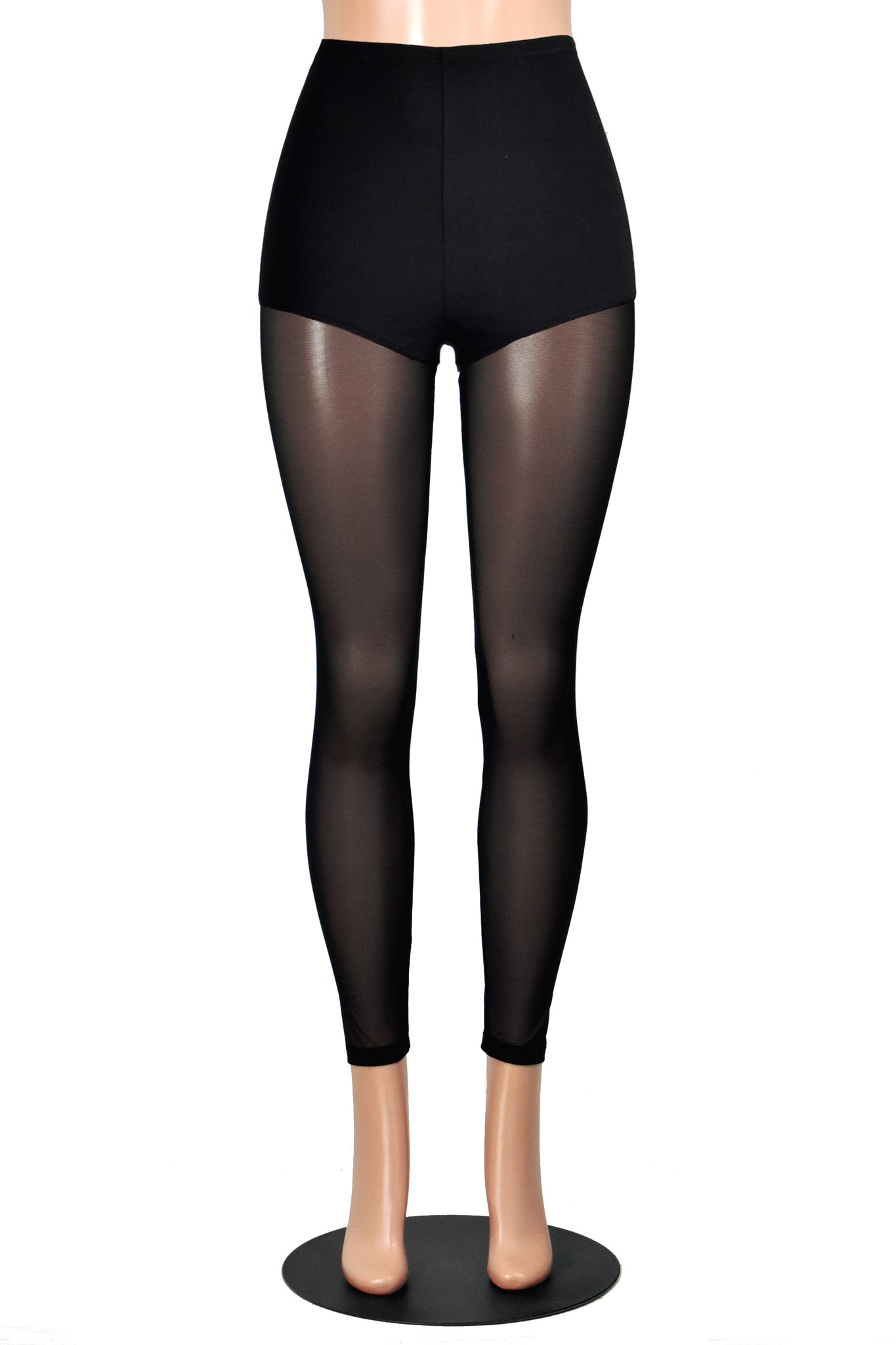 High-Waisted Black Cotton and Mesh Leggings
