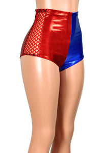 High-Waisted Metallic Red and Blue Fishnet Side Booty Shorts