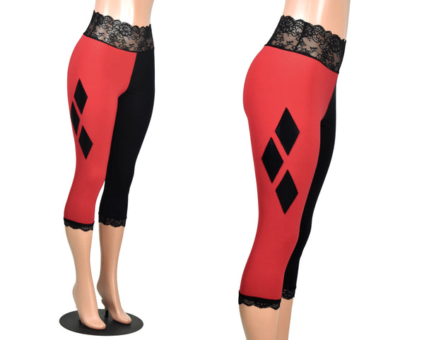 Black and Red Harley Quinn Diamond Capris