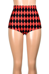 High-Waisted Diamond Print Red and Black Booty Shorts