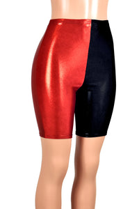 High-Waisted Red and Black Metallic Harley Quinn Bike Shorts