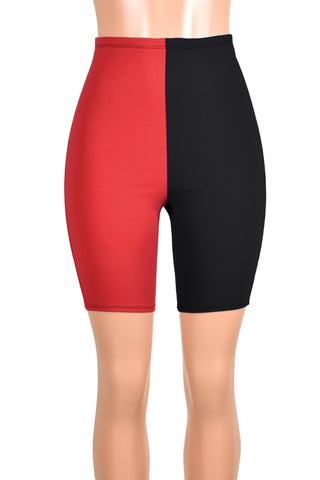 High-Waisted Red and Black Harley Quinn Bike Shorts