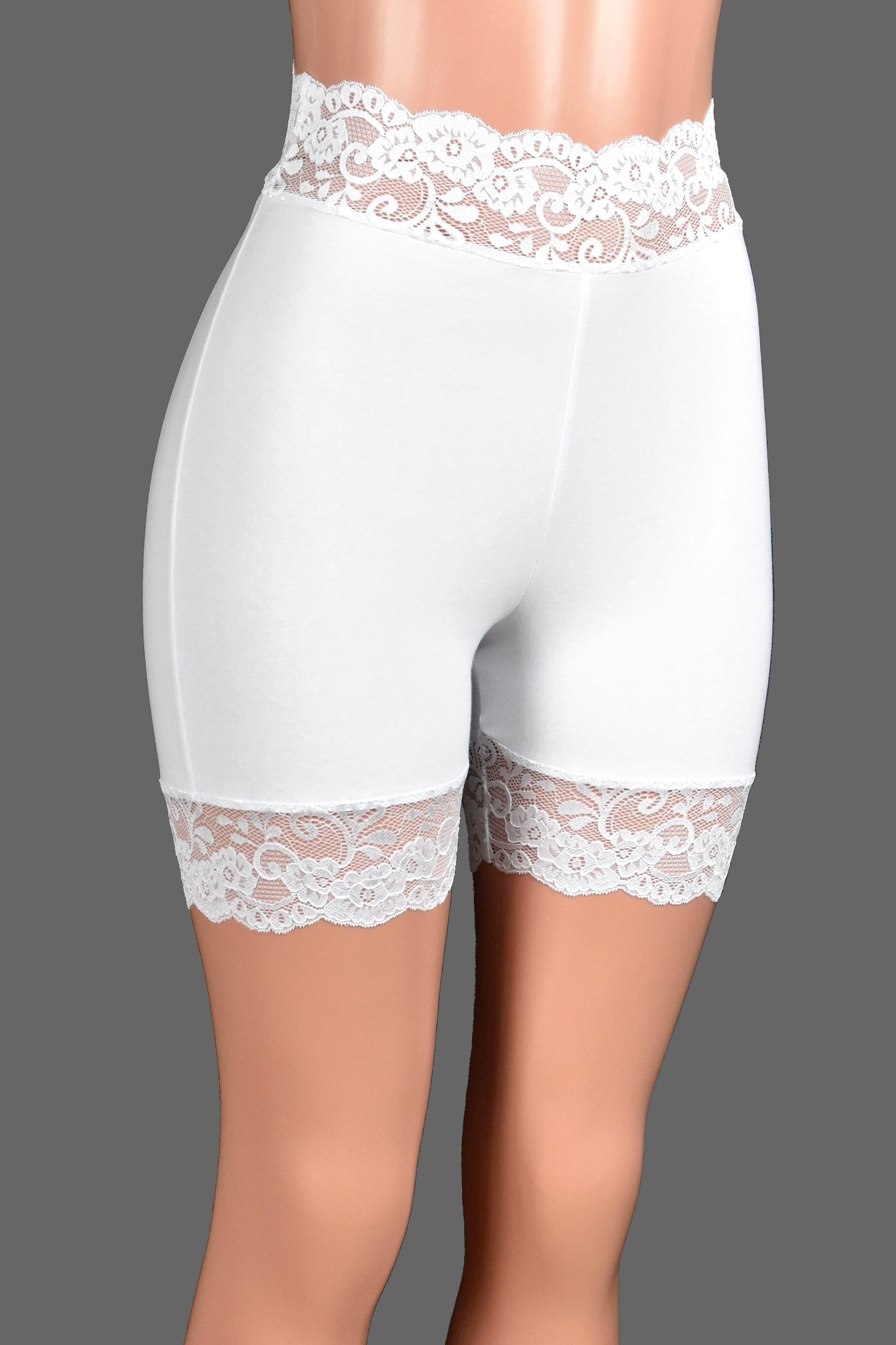 "High-Waisted 2.5"" Ivory or White Stretch Lace Shorts (5"" Inseam)"
