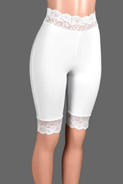 "Knee Length High-Waisted Ivory or White Stretch Lace Shorts (10.5"" inseam)"